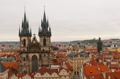 τσεχική κυρία εκκλησιών η δημοκρατία της Πράγας μας tyn Στοκ Εικόνα