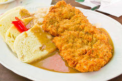 Τσεχική πασπαλισμένη με ψίχουλα μπριζόλα χοιρινού κρέατος με την μπουλέττα στοκ εικόνες