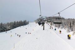 Τσεχικό χιονοδρομικό κέντρο Spindleruv Mlyn, Medvedin στο βουνό Krkonose στοκ εικόνες με δικαίωμα ελεύθερης χρήσης