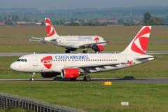 Τσεχικό airbus A319-112 αερογραμμών CSA Στοκ Φωτογραφίες