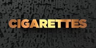 Τσιγάρα - χρυσό κείμενο στο μαύρο υπόβαθρο - τρισδιάστατο δικαίωμα ελεύθερη εικόνα αποθεμάτων ελεύθερη απεικόνιση δικαιώματος