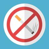 Τσιγάρο, σημάδι απαγόρευσης του καπνίσματος Στοκ Εικόνες