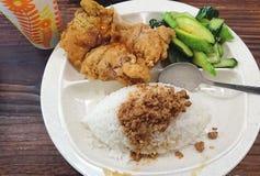 Τσιγαρισμένο καθορισμένο μεσημεριανό γεύμα κοτόπουλου στοκ εικόνα