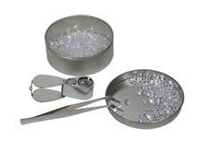 τσιμπιδάκια διαμαντιών loupe Στοκ Εικόνα