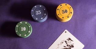 Τσιπ και πλακατζής πόκερ Στοκ Εικόνα