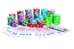 Τσιπ και χρήματα χαρτοπαικτικών λεσχών Στοκ φωτογραφία με δικαίωμα ελεύθερης χρήσης