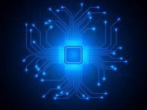 Τσιπ ΚΜΕ στο μπλε υπόβαθρο Μικροεπεξεργαστής με τις φωτεινές συνδέσεις Αφηρημένο ελαφρύ τεχνολογικό σκηνικό trendy απεικόνιση αποθεμάτων