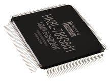 Τσιπ μικροϋπολογιστών πληροφοριών ολοκληρωμένων κυκλωμάτων και νέες τεχνολογίες απομονωμένος στοκ φωτογραφία