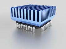 Τσιπ μικροϋπολογιστών με το heatsink Στοκ Εικόνες