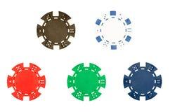 τσιπ πέντε πόκερ Στοκ εικόνες με δικαίωμα ελεύθερης χρήσης