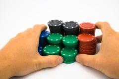 Τσιπ πόκερ με το χέρι Στοκ Εικόνες