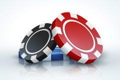Τσιπ πόκερ Χαρτοπαικτική λέσχη που παίζει τα τρισδιάστατα ρεαλιστικά τσιπ παιχνιδιού που απομονώνονται στην άσπρη, σε απευθείας σ διανυσματική απεικόνιση