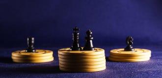 Τσιπ σκακιού και πόκερ Στοκ Εικόνες