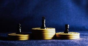 Τσιπ σκακιού και πόκερ Στοκ Φωτογραφίες