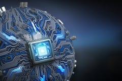 Τσιπ συστημάτων πινάκων κυκλωμάτων με τον επεξεργαστή πυρήνων Σφαιρικός υπολογίστε Στοκ εικόνα με δικαίωμα ελεύθερης χρήσης