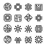 Τσιπ υπολογιστή και ηλεκτρονικά εικονίδια κυκλωμάτων καθορισμένα Στοκ Φωτογραφίες