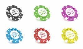 Τσιπ χαρτοπαικτικών λεσχών που απομονώνονται στο άσπρο bacgkround τρισδιάστατη απεικόνιση απεικόνιση αποθεμάτων