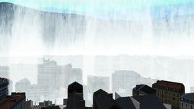 Τσουνάμι και υψηλά κύματα πέρα από την τρισδιάστατη πόλη απόθεμα βίντεο