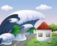 Τσουνάμι με τα μεγάλα κύματα πέρα από το σπίτι ελεύθερη απεικόνιση δικαιώματος