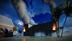 Τσουνάμι που καταστρέφει την πόλη απόθεμα βίντεο