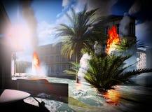 Τσουνάμι που καταστρέφει την πόλη Στοκ Εικόνα