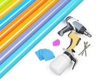 Τυλίγοντας εργαλεία αυτοκινήτων που απομονώνονται στην άσπρη, τρισδιάστατη απεικόνιση Στοκ Εικόνα