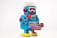 Τυμπανιστής ρομπότ παιχνιδιών κασσίτερου Στοκ Εικόνα
