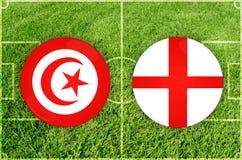 Τυνησία εναντίον του αγώνα ποδοσφαίρου της Αγγλίας Στοκ Φωτογραφία