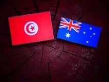 Τυνησιακή σημαία με την αυστραλιανή σημαία σε ένα κολόβωμα δέντρων που απομονώνεται Στοκ φωτογραφίες με δικαίωμα ελεύθερης χρήσης