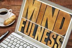 Τυπογραφία λέξης Mindfulness στο lap-top στοκ φωτογραφίες με δικαίωμα ελεύθερης χρήσης