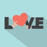 Τυπογραφία αγάπης με το σχέδιο συμβόλων καρδιών Στοκ Φωτογραφία