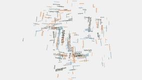 Τυπογραφία κειμένων σύννεφων λέξης έννοιας γλωσσικής ομιλίας παγκόσμιων παγκόσμιων επικοινωνιών φιλμ μικρού μήκους