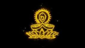 Τυπογραφία λαμπτήρων Diya Deepak που γράφεται με τα χρυσά πυροτεχνήματα σπινθήρων μορίων απεικόνιση αποθεμάτων