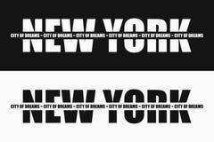 Τυπογραφία μόδας της Νέας Υόρκης με το σύνθημα στο λωρίδα - πόλη των ονείρων Σχέδιο γραφικής παράστασης για την ενδυμασία και την ελεύθερη απεικόνιση δικαιώματος