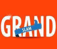 Τυπογραφία του Grand Slam με τους αντίχειρες επάνω και το φωτεινό υπόβαθρο Στοκ Εικόνες