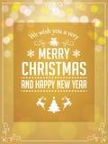 Τυπογραφία χαιρετισμών Χριστουγέννων στο κίτρινο υπόβαθρο Στοκ Φωτογραφίες