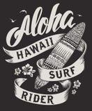 Τυπογραφία Aloha με την απεικόνιση ιστιοσανίδων για τη διανυσματική απεικόνιση τυπωμένων υλών μπλουζών Στοκ Φωτογραφία