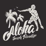 Τυπογραφία Aloha με την απεικόνιση surfer για τη διανυσματική απεικόνιση τυπωμένων υλών μπλουζών Στοκ Εικόνες