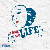 Τυπογραφία Geme, γραφική παράσταση μπλουζών Το παιχνίδι είναι η ζωή μου στοκ εικόνες