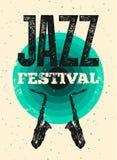 Τυπογραφική εκλεκτής ποιότητας αφίσα ύφους grunge φεστιβάλ της Jazz αναδρομικό διάνυσμα απεικόνισης Στοκ Φωτογραφίες