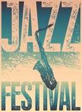 Τυπογραφική εκλεκτής ποιότητας αφίσα ύφους grunge φεστιβάλ της Jazz αναδρομικό διάνυσμα απεικόνισης Στοκ Εικόνες