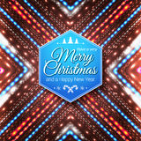 Τυπογραφική ετικέτα για τη Χαρούμενα Χριστούγεννα και καλή χρονιά Στοκ φωτογραφία με δικαίωμα ελεύθερης χρήσης