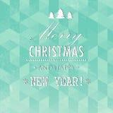 Τυπογραφική ετικέτα Χριστουγέννων για τα Χριστούγεννα και το νέο σχέδιο διακοπών έτους Στοκ Εικόνα