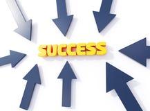 Τυπογραφική τρισδιάστατη απεικόνιση επιτυχίας, βέλη που δείχνει την επιτυχία λέξης απεικόνιση αποθεμάτων