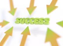 Τυπογραφική τρισδιάστατη απεικόνιση επιτυχίας, βέλη που δείχνει την επιτυχία λέξης διανυσματική απεικόνιση
