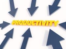 Τυπογραφική τρισδιάστατη απεικόνιση παραγωγικότητας, βέλη που δείχνει την παραγωγικότητα λέξης απεικόνιση αποθεμάτων