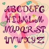 Τυπογραφικός, χρωματισμένο χέρι αλφάβητο Διανυσματική απεικόνιση