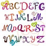 Τυπογραφικός, χρωματισμένο χέρι αλφάβητο απεικόνιση αποθεμάτων
