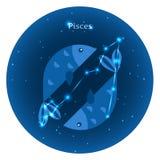 Τυποποιημένα εικονίδια zodiac των σημαδιών στο νυχτερινό ουρανό με το φωτεινό αστερισμό αστεριών στο μέτωπο Στοκ φωτογραφία με δικαίωμα ελεύθερης χρήσης