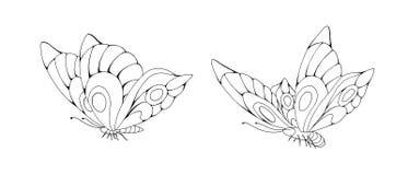 Τυποποιημένα κινούμενα σχέδια δύο Zentangle πεταλούδες που απομονώνονται στο άσπρο υπόβαθρο διανυσματική απεικόνιση